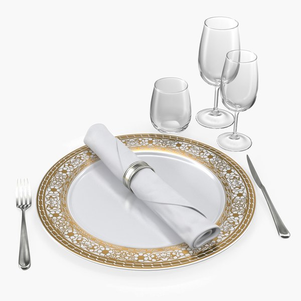 plate glasses silverware set 3D model