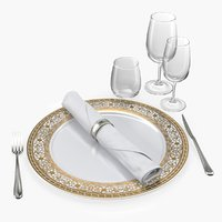 Empty Plate Glasses And Silverware Set