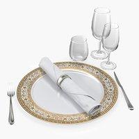 plate glasses silverware set 3D model