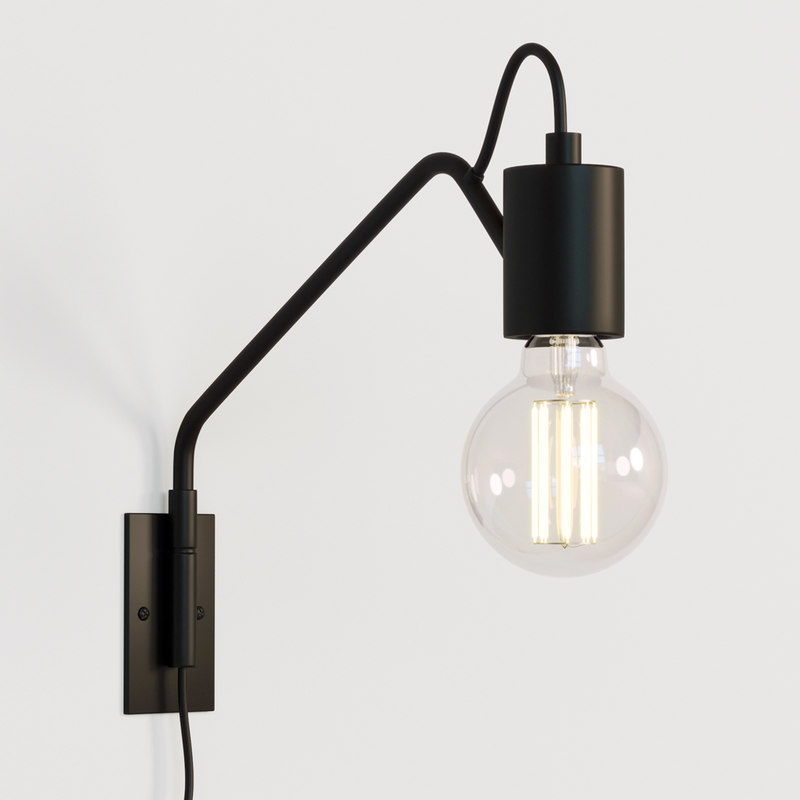 3D designed wall light black