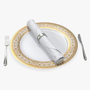 3D plate silverware dinner set