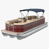 3D pontoon boat trimaran rigged model