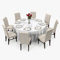 Round Restaurant Table Served With 8 Chairs