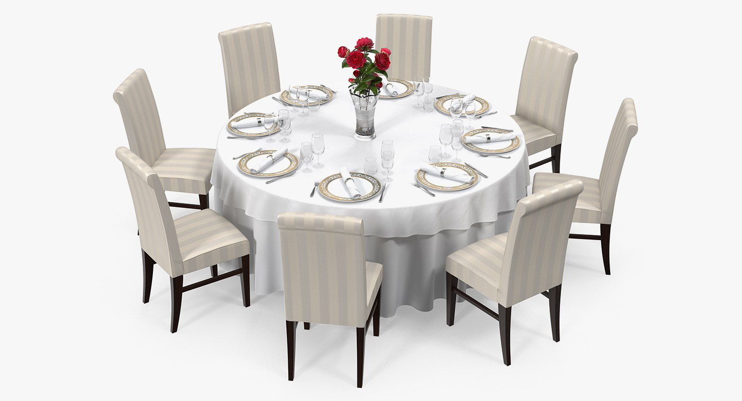 3D served restaurant table 8 model