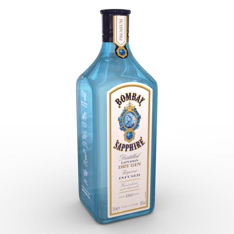 3D bombay sapphire 70cl bottle