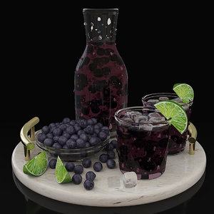 3D model blueberry juice tray