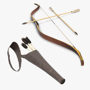 3D antique bow quiver letaher model