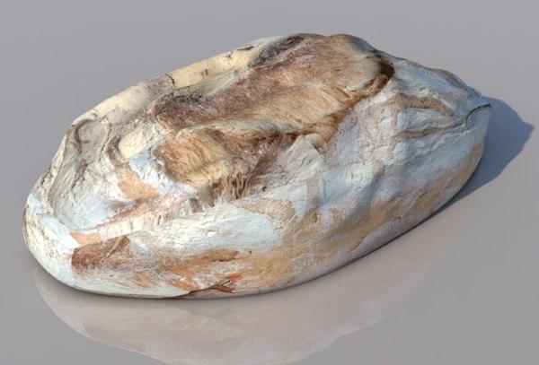 3D model bread loaf food