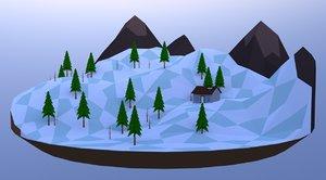 3D landscape mountains house