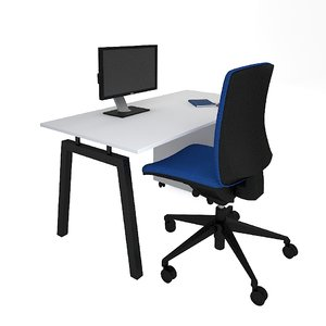 3D office desk set chair