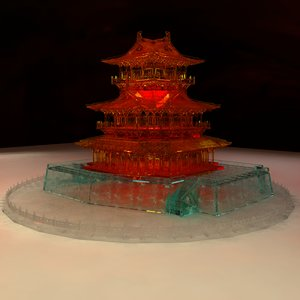 3D chinese icy ancient house