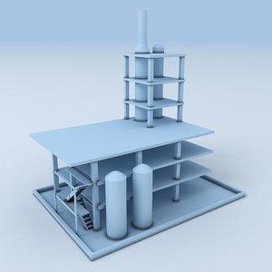 3D model factory industrial buildings