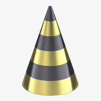 black gold party cone 3D model