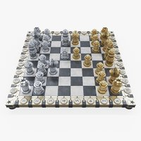 steampunk chess set queen 3D