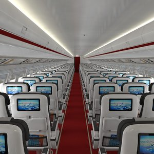 airplane cabin 109 seats 3D model