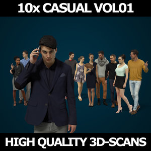 scanned people casual 10x 3D