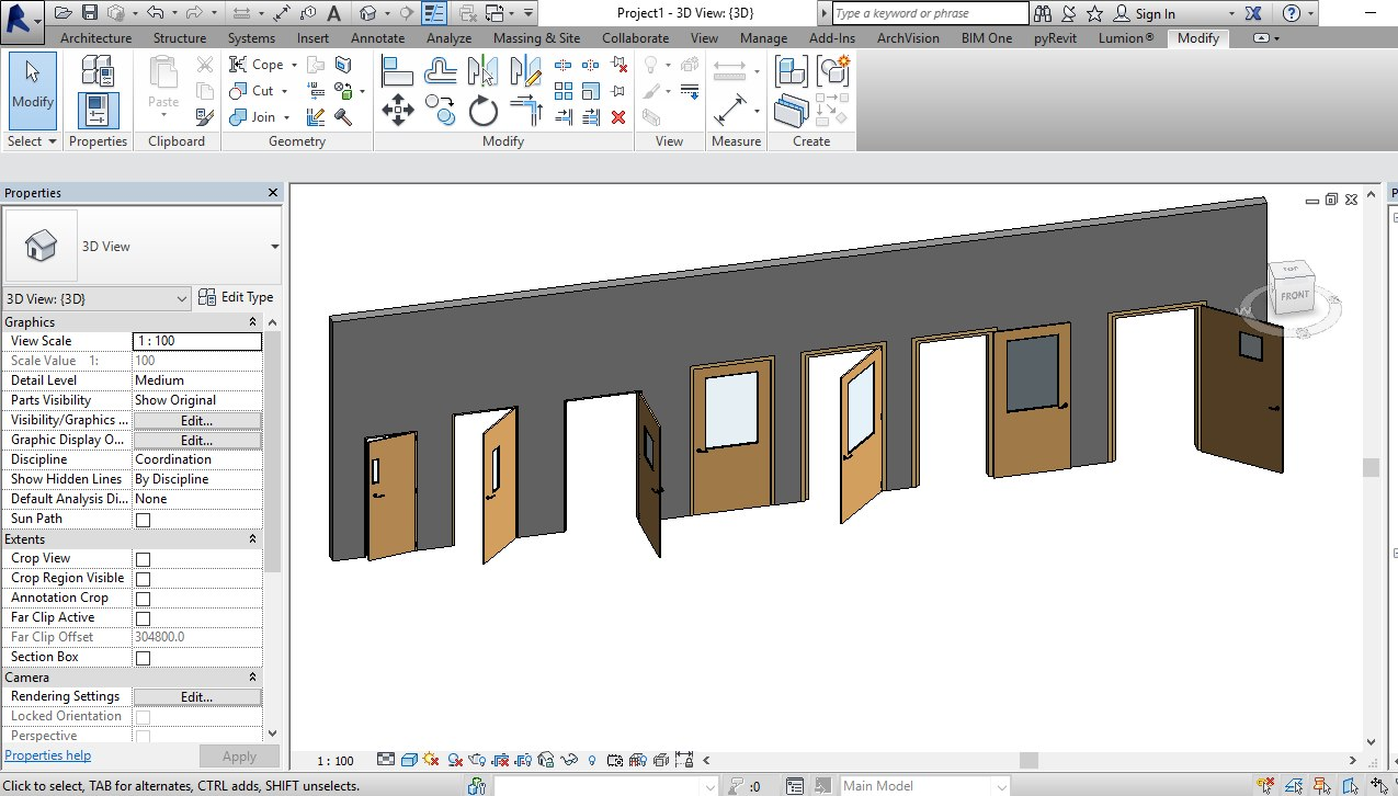 SINGLE DOOR WITH VISION PANEL REVIT FAMILY (3D ROTATED & FULL PARAMETER)