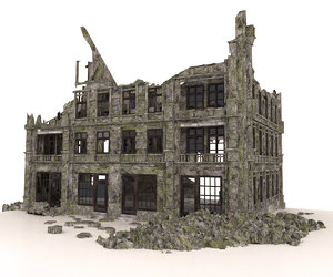 ruined apocalypse building architectural model