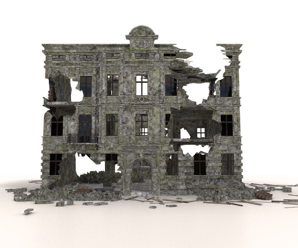 ruined building architectural 3D model