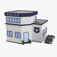 Cartoon Police Station Low Poly 3D Model