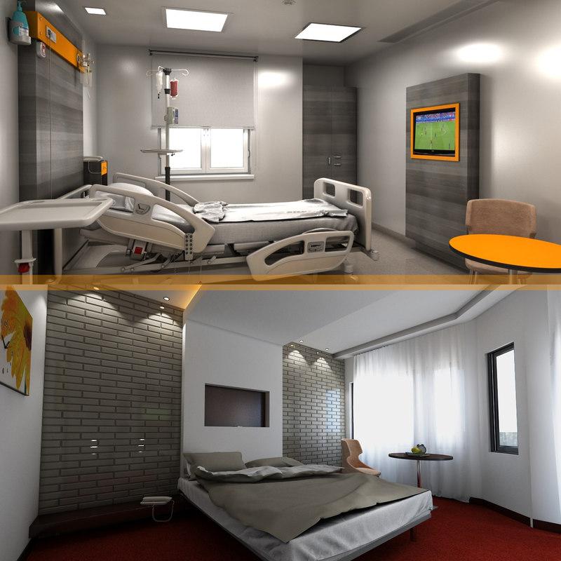 hospital hotel room 3D model