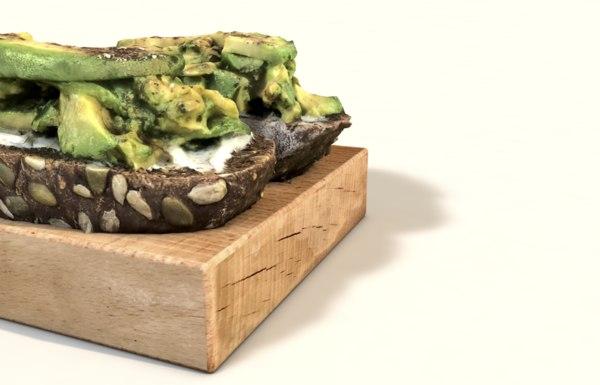 smashed avocado toast 3D