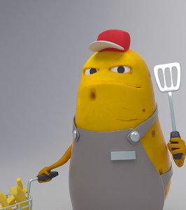 3D potato mcfood cartoon character model