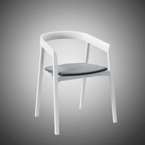 3D mornington dining chair aluminium model