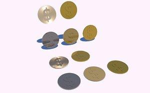 coins dollar gold 3D model