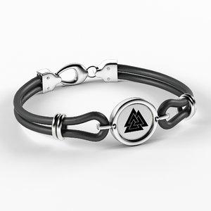 silver leather bracelet 3D model