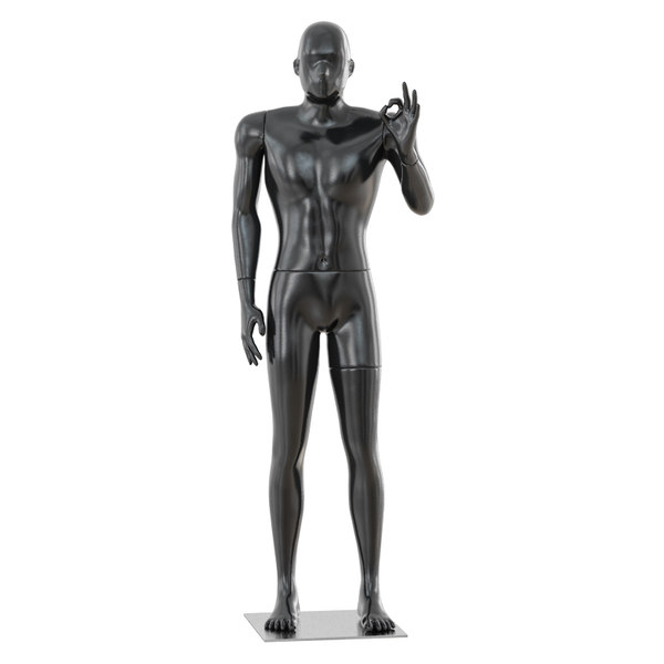 3D black glossy mannequin hand