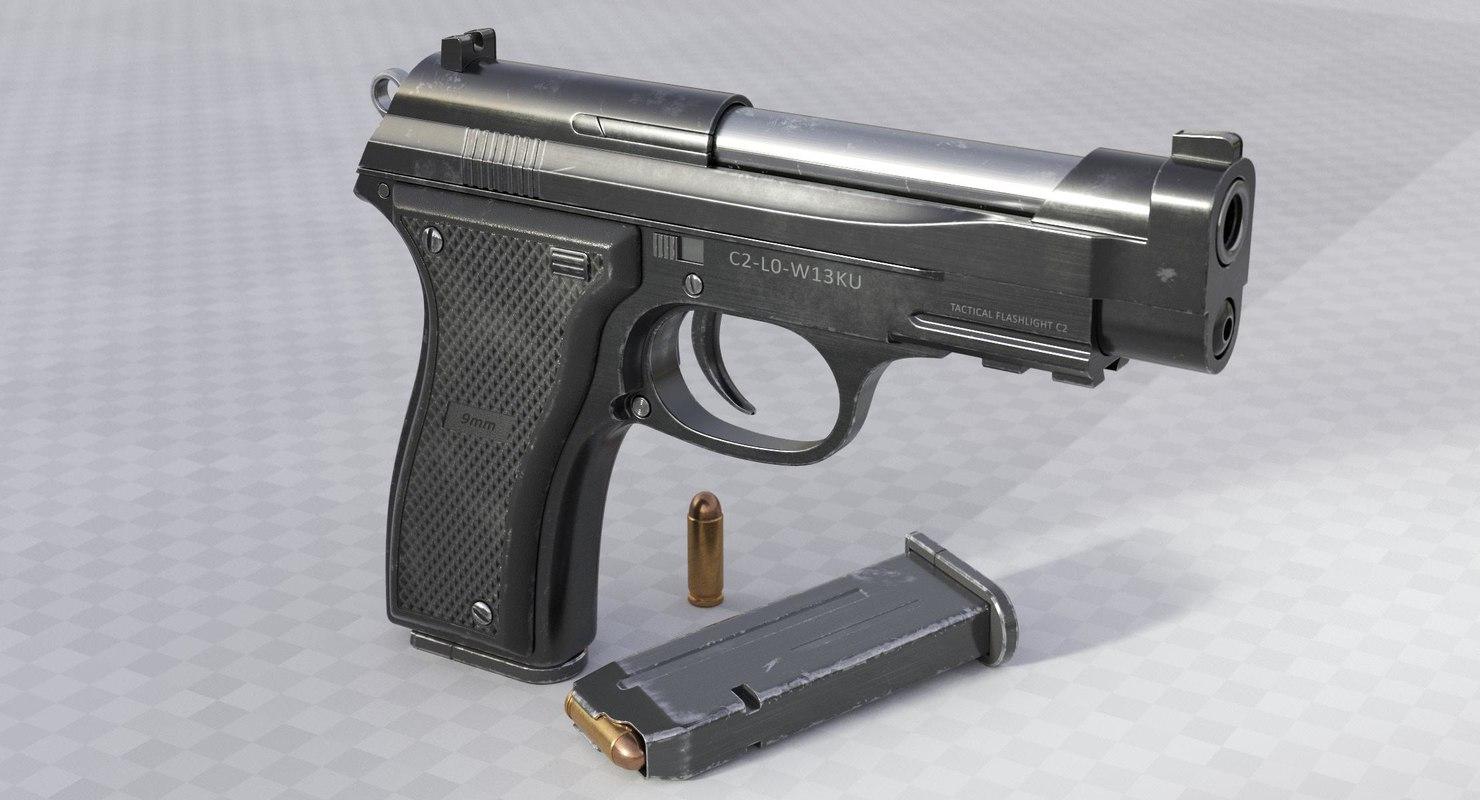 3D 9mm pistol model