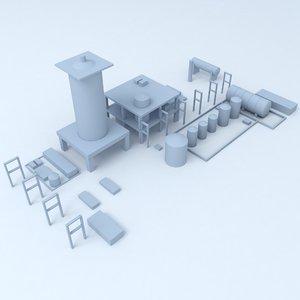 3D factory industrial buildings