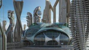 sci-fi buildings 3D model