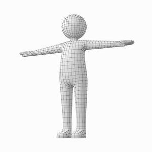 3D model adult male stickman t-pose