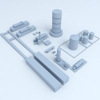 3D factory industrial buildings model