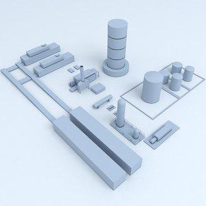 3D factory industrial buildings model