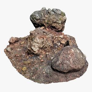 3D model rocky area