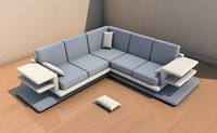 3D long sofa interior model