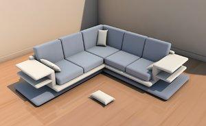 3D long sofa interior model