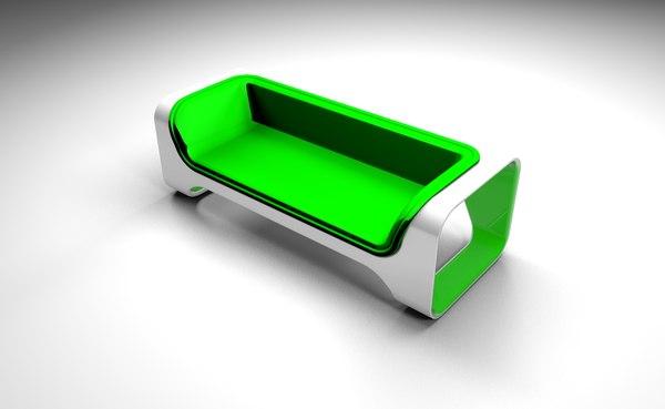 green sofa design 3D