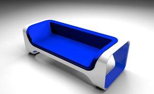 3D blue sofa model
