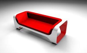 3D red sofa design