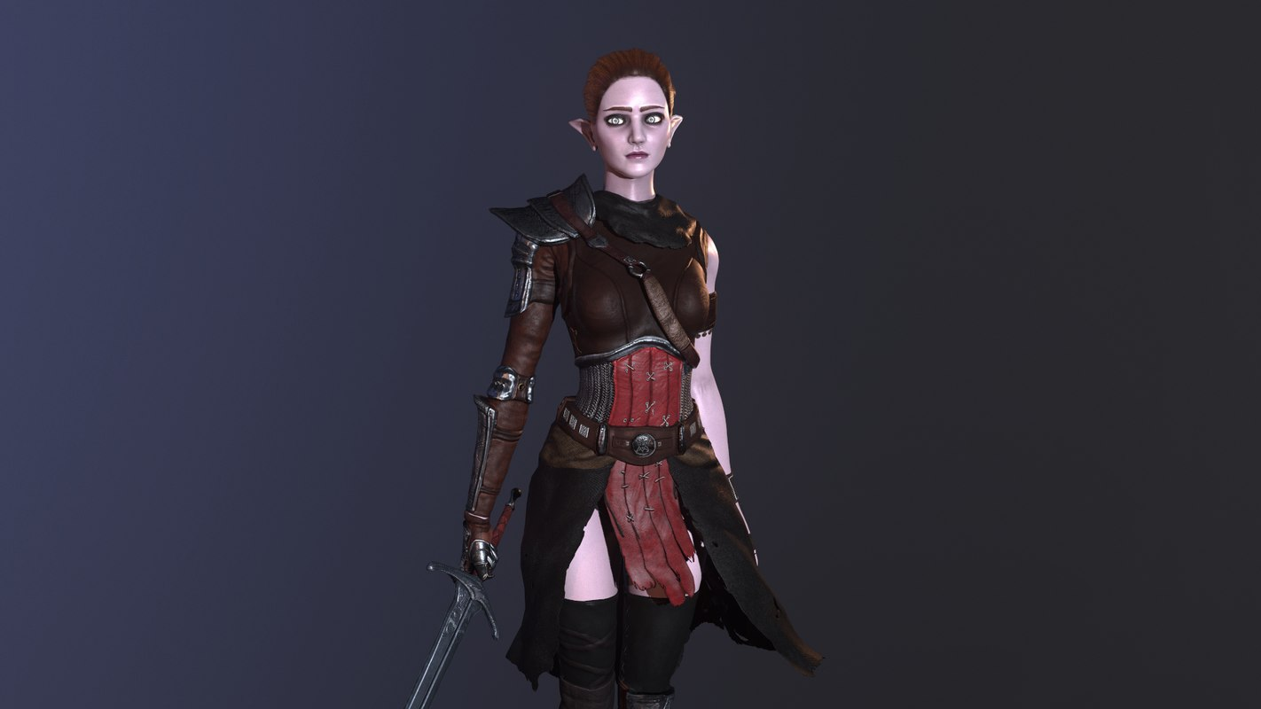 Female elf character - animated Low-poly 3D model