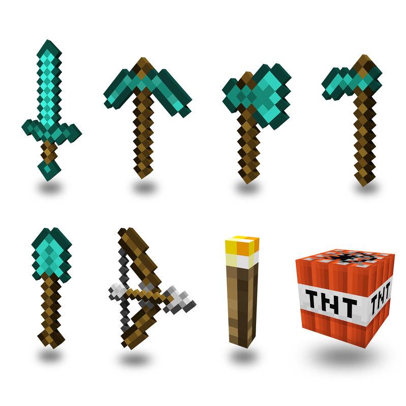 3D model sword pickaxe axe