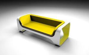 3D yelow sofa design
