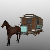rigged horse carriage 3D model