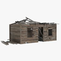 old broken shed shack 3D model