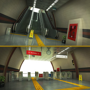 3D escalator tourniquet subway