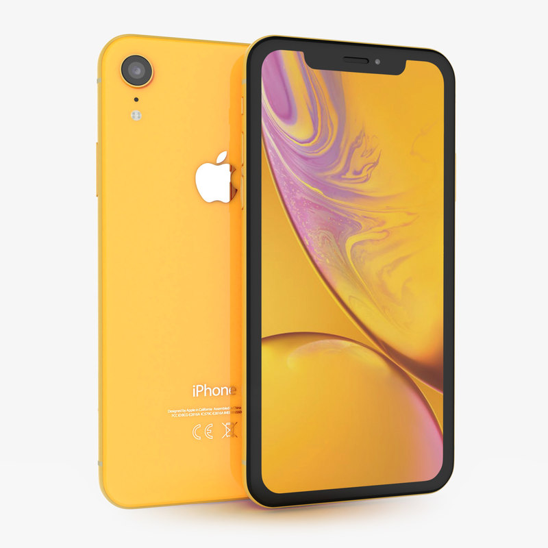 3D apple iphone xr yellow model